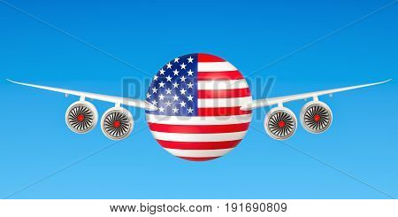 American airlines and flying's flights to USA concept. 3D rendering
