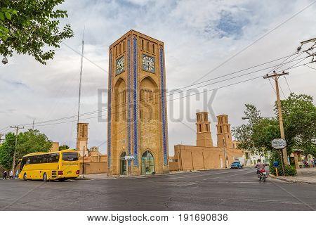 YAZD, IRAN - MAY 5, 2015: Beautiful clock tower at Hazrat Mahdi avenue in the old part of the city.