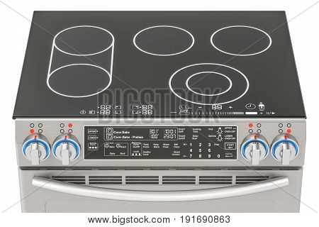 Electric slide-in convection range top view. Kitchen Stove 3D rendering isolated on white background