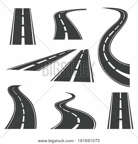 Save Download Preview Vector road icons. Highways and roads signs for trip and journey maps motion isolated on white background. Path of roads straight and curved illustration