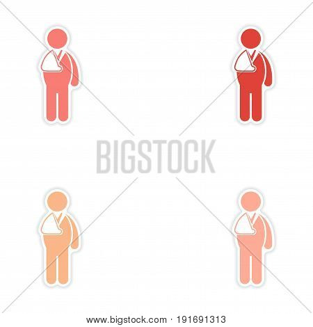 Set of stickers man with broken arm on white background