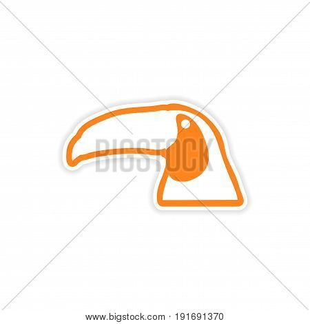 paper sticker Brazilian toucan on white background