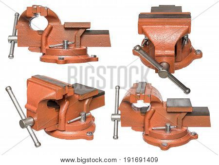 Orange hand vise tool, different views, isolated on white background.