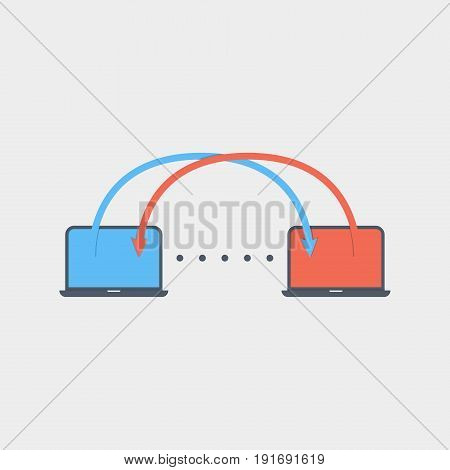 data transfer icon flat stock vector illustration