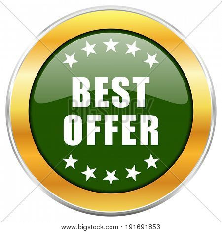 Best offer green glossy round icon with golden chrome metallic border isolated on white background for web and mobile apps designers.