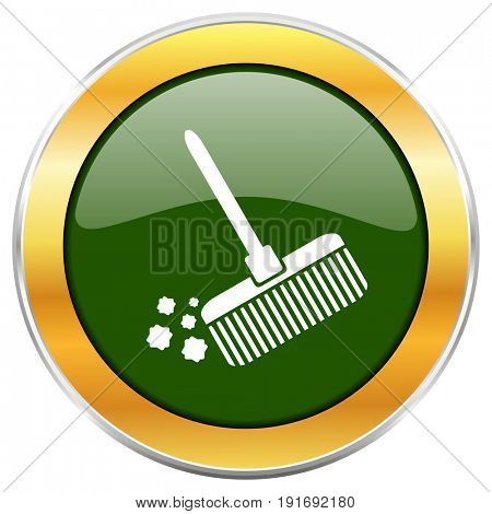 Broom green glossy round icon with golden chrome metallic border isolated on white background for web and mobile apps designers.