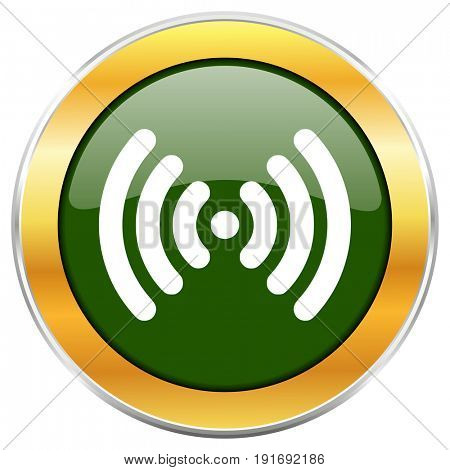 Wifi green glossy round icon with golden chrome metallic border isolated on white background for web and mobile apps designers.