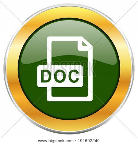 Doc file green glossy round icon with golden chrome metallic border isolated on white background for web and mobile apps designers.