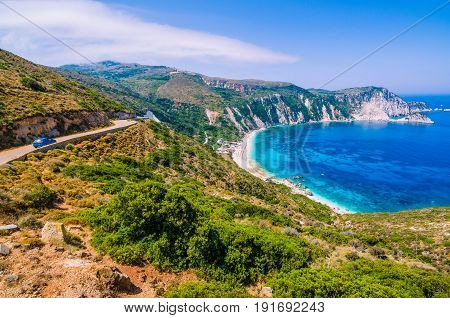 Road to Myrtos Bay and Beach on Kefalonia Island, Greece.