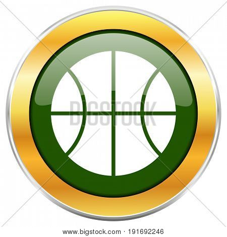 Ball green glossy round icon with golden chrome metallic border isolated on white background for web and mobile apps designers.