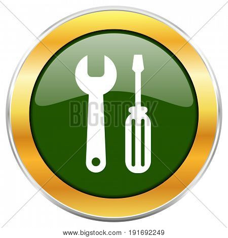 Tool green glossy round icon with golden chrome metallic border isolated on white background for web and mobile apps designers.