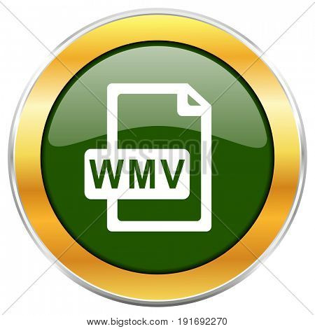 Wmv file green glossy round icon with golden chrome metallic border isolated on white background for web and mobile apps designers.