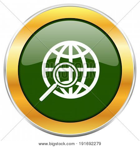 Search green glossy round icon with golden chrome metallic border isolated on white background for web and mobile apps designers.