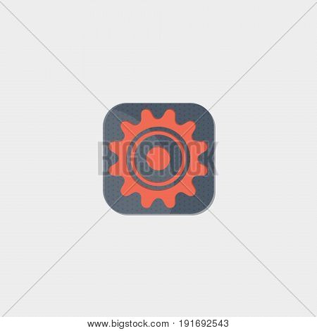 The Gear icon flat stock vector illustration
