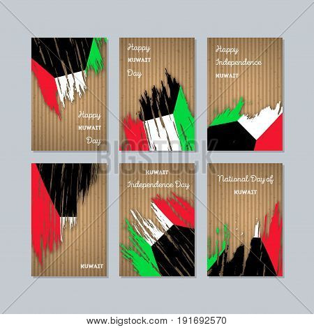 Kuwait Patriotic Cards For National Day. Expressive Brush Stroke In National Flag Colors On Kraft Pa