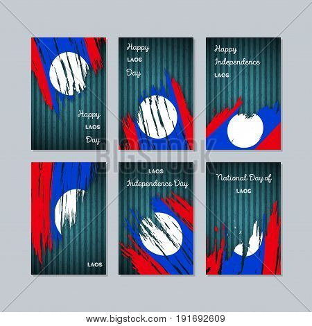 Laos Patriotic Cards For National Day. Expressive Brush Stroke In National Flag Colors On Dark Strip