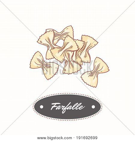 Hand drawn pasta farfalle isolated on white. Element for restaurant or food package design. Vector illustration