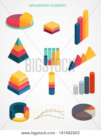 Business infographics set vector. Chart, financial diagram, graph, report, stage elements. Modern infographics for website, corporate report, presentation. Infographics elements set.