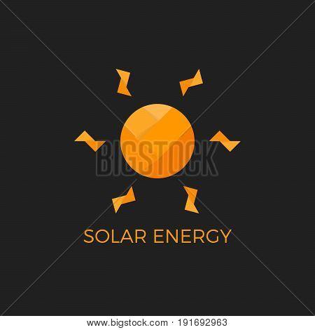 Abstract vector sun logo design template. Solar energy symbol. Paper sun. Origami
