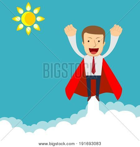 Superhero - businessman in red capes flying upwards to his success. Stock vector illustration for poster, greeting card, website, ad, business presentation, advertisement design.