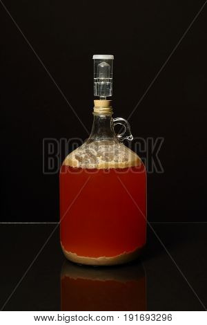 Fermenting Homebrew Beer Isolated on a Black Background
