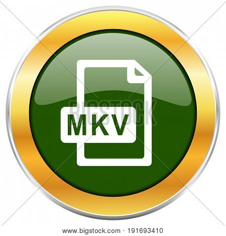 Mkv file green glossy round icon with golden chrome metallic border isolated on white background for web and mobile apps designers.
