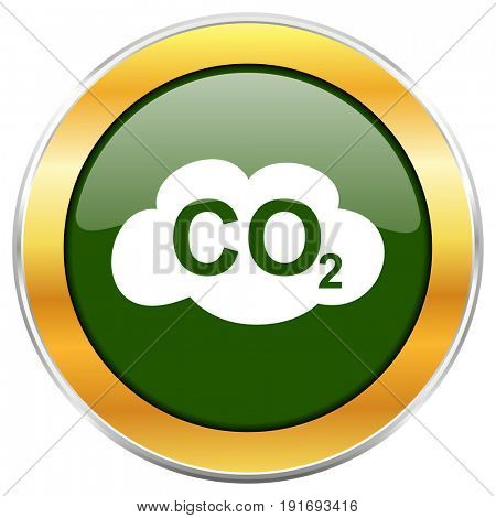Carbon dioxide green glossy round icon with golden chrome metallic border isolated on white background for web and mobile apps designers.
