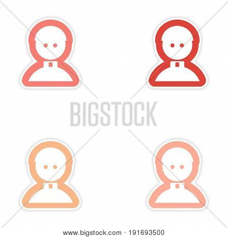 Set of paper stickers on white background Catholic priest man