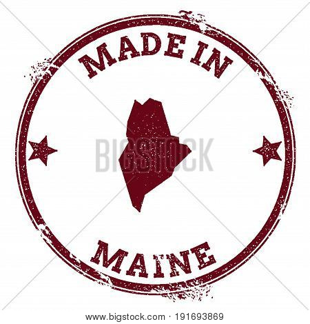 Maine Vector Seal. Vintage Usa State Map Stamp. Grunge Rubber Stamp With Made In Maine Text And Usa