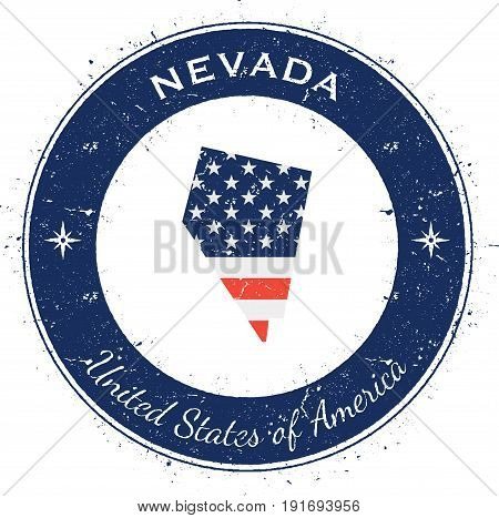 Nevada Circular Patriotic Badge. Grunge Rubber Stamp With Usa State Flag, Map And The Nevada Written