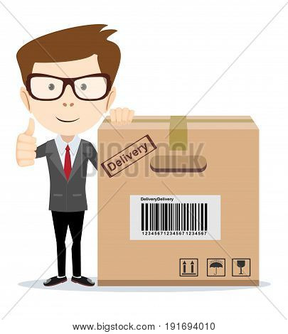 Smiling modern business man with a large cardboard box. Stock Vector illustration of a cartoon