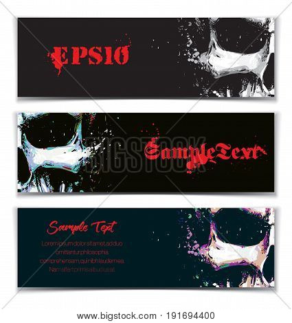 Vector illustration of an artistic render of a human skull. Set of 3 Banners with space for your text. Artwork splashes and extra splashes text and drop shadow on separate layers.