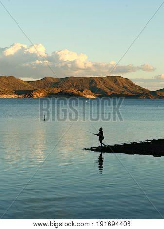 Fishing at Lake Pleasant Reservoir in Peoria Arizona