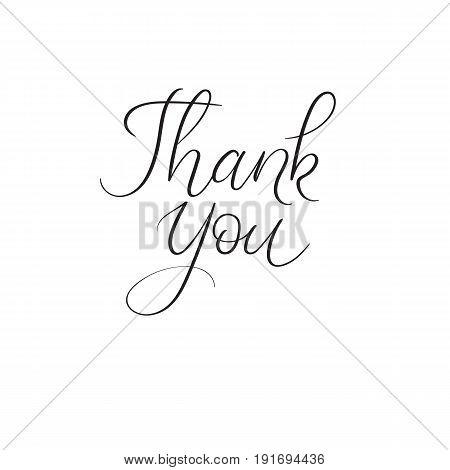 Thank You Handwritten Inscription. Modern Calligraphy Greeting Card. Wedding Decoration