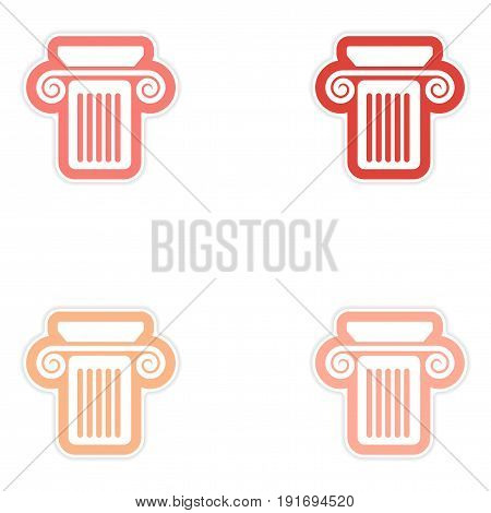 Set of paper stickers on white background Greek column