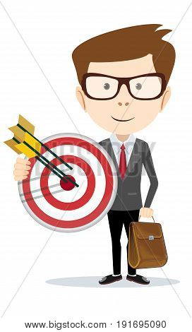 Businessman with a big target. vector illustration