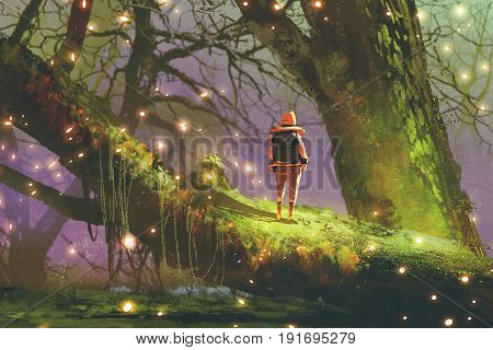 hiker with backpack standing on giant tree with fireflies in enchanted forest digital art style, illustration painting