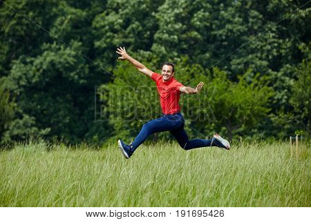 Happy Man Jumping For Joy