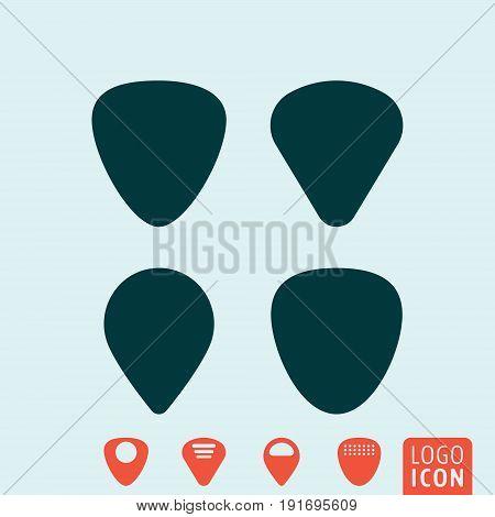 Guitar pick symbol. Plectrum icon set. Vector illustration