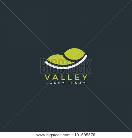Valley flat logo. Vector valley icon. Illustration.
