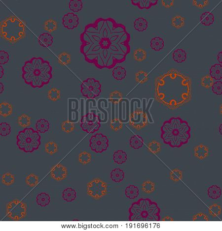 Print for Warping Paper or textile Violet Round Shapes on deep Green Seamless