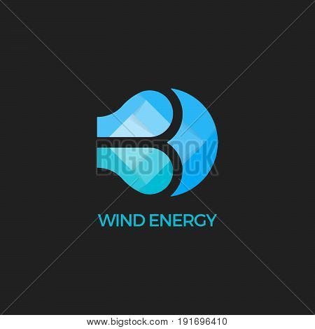 Abstract vector wind logo design template. Wind energy symbol. Paper wind. Origami