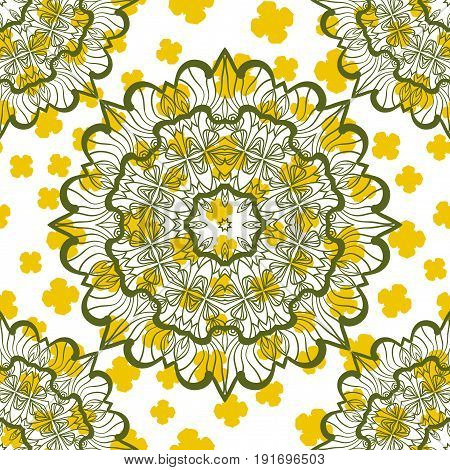 Abstract Seamless Mandala Stylized Warping Paper Pattern Print. Indian mandala as base of endless design.