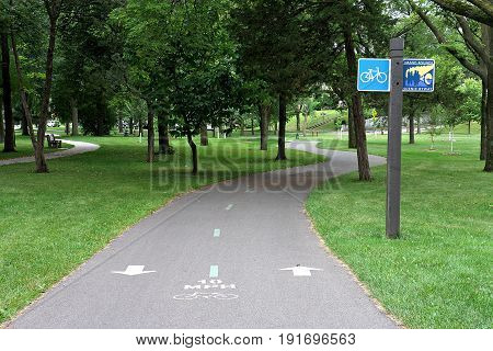 Bike Trail In Dean Parkway, Minneapolis, Minnesota