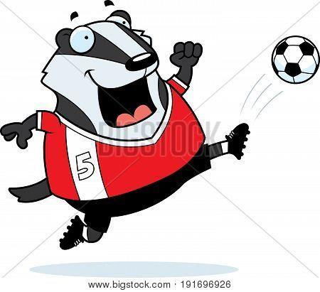 Cartoon Badger Soccer Kick