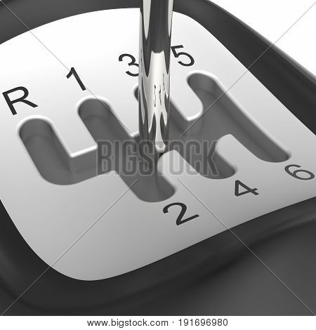 Close-up of manual gearshift on white background (3D rendering)