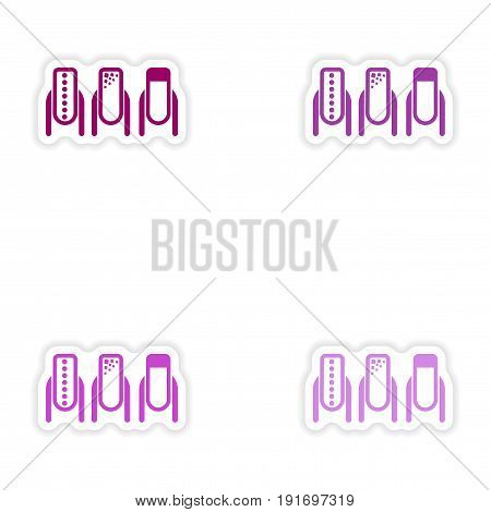 Set of paper stickers on white background manicure