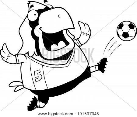 Cartoon Cardinal Soccer Kick