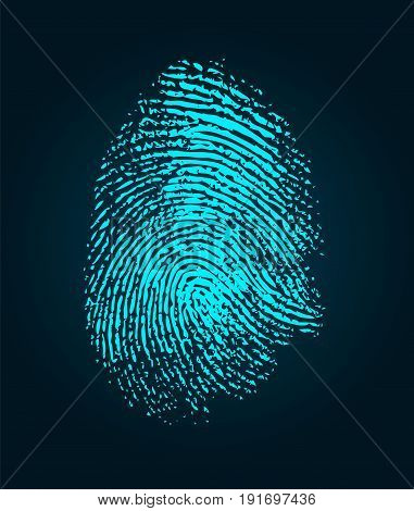 Blue fingerprint. Color fingerprint on black background. Security system fingerprint.