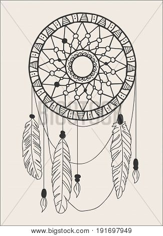 American Indians amulet. Dream catcher with feathers and beads on a white background